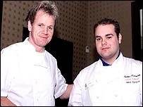 Gordon Ramsay with one of the competiting chefs