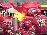Michael Schumacher's Ferrari catches fire at the Austrian Grand Prix