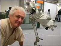 Aberystwyth scientist Dr David Barnes with the robotic arm bound for Mars