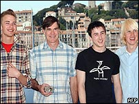 Director Gus Van Sant with young actors (l to r): Elias Mcconnell,  Alex Frost and John Robinson