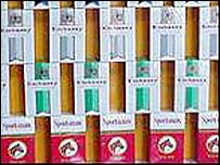 Cigarettes on display