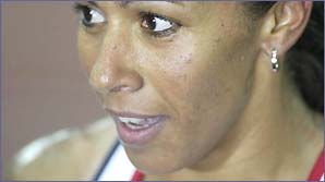 A close-up of Kelly Holmes