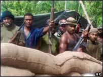 Rebel fighters near Honiara
