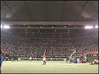 Serena Williams serves at the Rod Laver Arena during the 2003 Australian Open