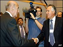 Valery Giscard d'Estaing and Peter Hain