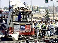 Wreckage of bombed Jerusalem bus