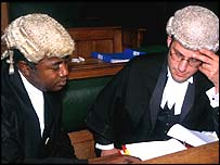 Barristers working in a fictional court case