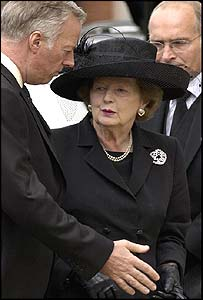 Lady Thatcher stands with her son Mark