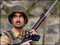 Indian Border Security Force guard in Srinagar