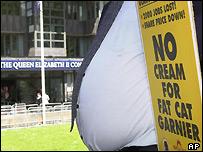 Protestors outside GSK meeting in London
