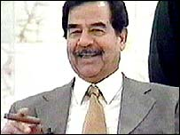 Saddam Hussein pictured on Iraqi television, 15 March 2003