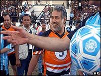 East Timor President Xanana Gusmao at a anniversary football match