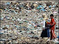 Iraqi children on a rubbish dump in the Baghdad outskirts