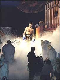 Prince Naseem Hamed makes his entrance against Wayne McCullough in Atlantic City
