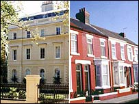 A house in London and, right, a northern terrace