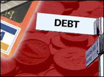 A signpost with the word debt and credit cards