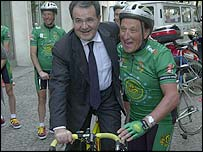 Romano Prodi is an enthusiastic cyclist