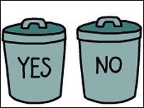 Innocent webgrab of 'yes' and 'no' bins