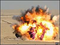 Soviet-made Iraqi T-72 tank exploding