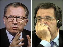 Jacques Delors and Romano Prodi