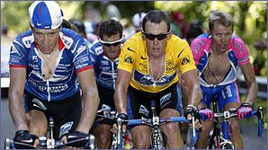 Lance Armstrong is easy to spot in the pack in the leader's yellow jersey