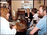 Drinkers in an Irish pub