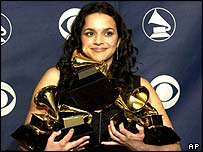 Norah Jones with her Grammy awards
