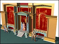 Computer model of Roman stage