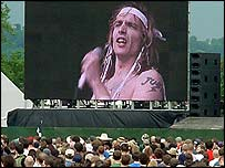 The Darkness' Justin Hawkins on a big screen at Glastonbury