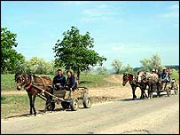 Horses and carts near Mingir