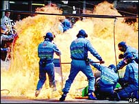 Jos Verstappen suffered the first modern refuelling fire in 1994