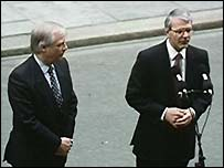 Chris Patten and John Major in Downing Street after winning the 1992 general election