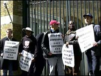 Peter Tatchell in 2003 demonstrating against the Zimbabwe cricket tour of England
