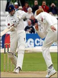Mohammad Kaif tries to hook a short ball