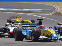 Fernando Alonso leads David Coulthard during the European Grand Prix