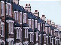 Row of terraced houses, BBC