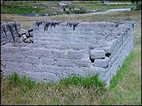 Inca water block in field, BBC