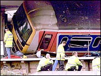 The battered coach after the crash