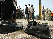 A pair of shoes lies at the scene of the explosion in Ramadi