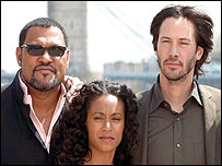 Laurence Fishburne, Jada Pinkett Smith and Keanu Reeves