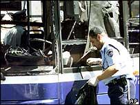 Scene of Sunday's bus bombing in northern Jerusalem