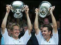 Todd Woodbridge and Jonas Bjorkman celebrate victory