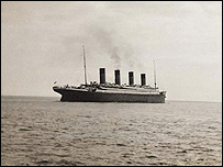 A photograph of the Titanic