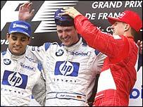 Juan Pablo Montoya, Ralf Schumacher and Michael Schumacher