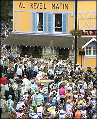 Riders gather for the start of stage one, the Au Reveil Matin cafe in Montgeron, the starting point of the first stage of the inaugural race in 1903