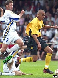 Henrik Larsson breaks clear against the amateur select