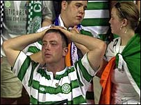 Celtic fans show their frustration at the final whistle