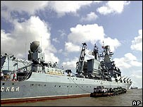 Moskva missile cruiser in the Arabian Sea