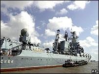 Moskva missile cruiser in the Arabian Sea