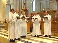 Benedictine monks singing at St Anne's Cathedral in Belfast